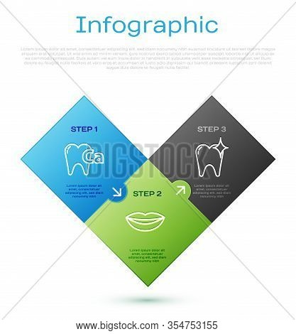 Set Line Calcium For Tooth, Tooth Whitening Concept And Smiling Lips. Business Infographic Template.
