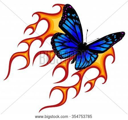 Vector Illustration Of A Butterfly Made Of Fire