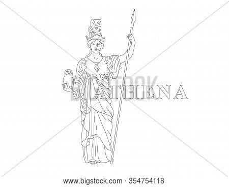 Athena. Greek Goddess Of Reason, Wisdom, Intelligence, Skill, Peace, Warfare, Battle Strategy, And H