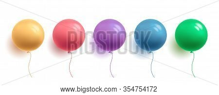 Set Of Glossy Colorful Balloons In Round Shape, 3d Colour Sphere, Isolated Vector Illustration