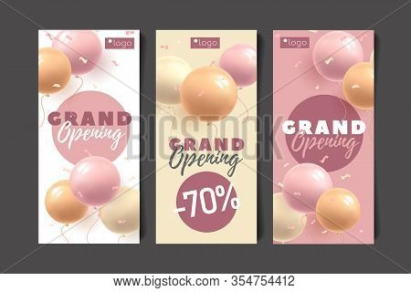 Set Of Invitation Flyers For Grand Opening Of Shop Or Event With Discount, Round Shape Balloons 3d V
