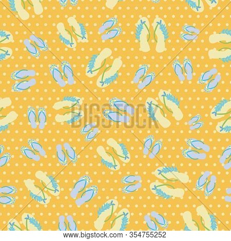 Flip Flop Shoe On Beach Seamless Vector Pattern Background. Pretty Blue Sandals With Tropical Flower