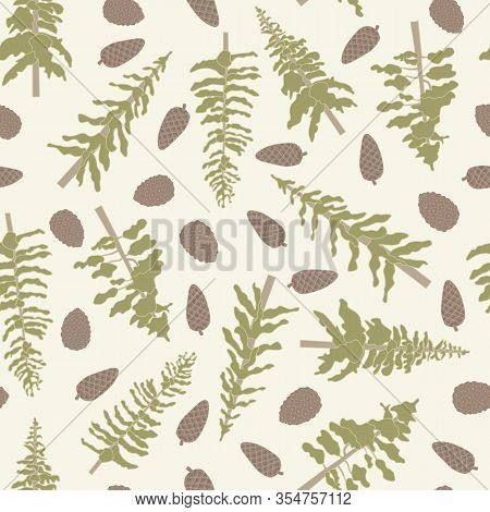 Vector Green Trees And Pinecones On Beige Background Seamless Repeat Pattern. Background For Textile