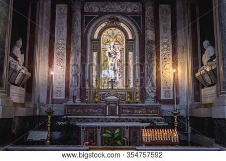 Palermo, Italy - May 8, 2019: One Of The Chapels In Roman Catholic Assumption Cathedral In Palermo,