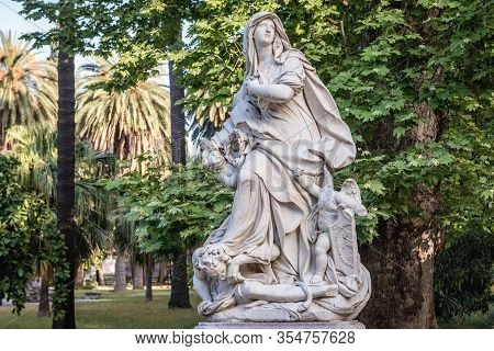 Palermo, Italy - May 8, 2019: One Of The Statues In Villa Giulia Park Also Called Popolo Park In Pal