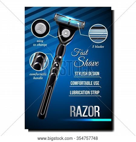 Razor For Shave Creative Advertising Banner Vector. Metal Safety Razor Stylish Design, Comfortable U