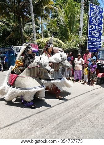 Carnival In Poya Day On The Streets Of Mirissa. Dressed People Celebrating Poya Day. March, 9, 2020,
