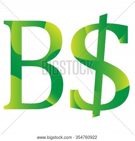 Brunei Dollar Currency Symbol Icon Striped Vector Illustration On A White Background