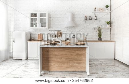 Modern Stylish Scandinavian Kitchen Interior With Kitchen Accessories. Bright White Kitchen With Hou