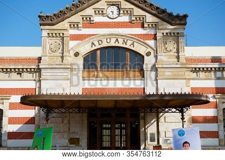 Arica, Chile - October 20, 2013: Facade Of The Historical Customs Building In Arica, Chile.