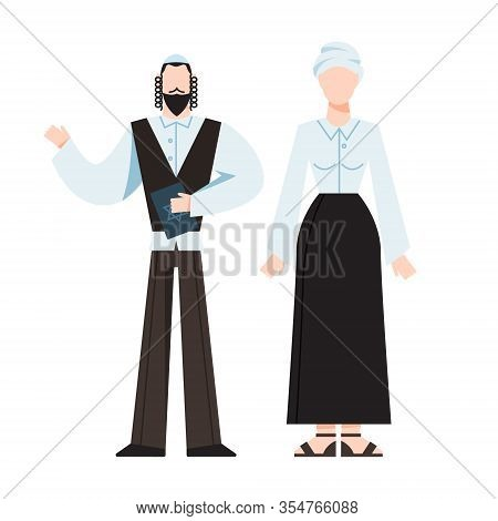Traditional Jewish Religious Monk. Male And Female Religious Figure.
