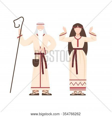 Religion Pagan People In Traditional Period Costume. Slavic Or Pagan