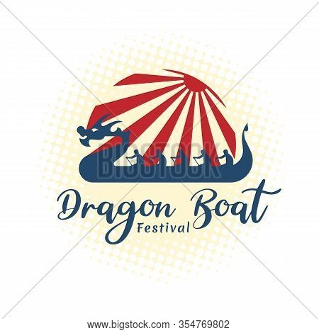Dragon Boat Festival Banner With Blue Dragon China Sign And Red Sunlight On Soft Yellow Background V