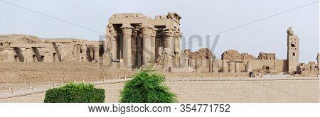 Ancient Pillars Of Egyptian Kom Ombo Temple. Egypt
