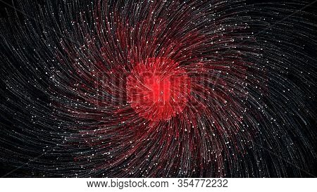 Abstract Fireworks Of Multi-colored Particles On Black Background. Animation. Seamless Hypnotic Colo