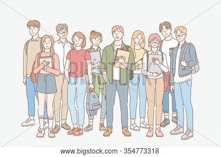Student, Education, Study, College Set Concept. Group Of Young Men, Women Students Friends Teenagers