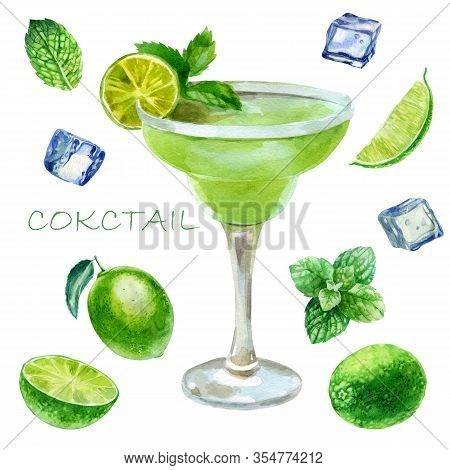 Watercolor Illustration. Image Of A Glass With A Margarita Cocktail. Mint Leaves, Ice Cubes For Cock