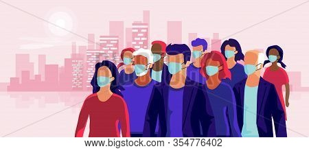 Group Of People Wearing Protection Medical Face Mask To Protect And Prevent Virus, Disease, Flu, Air