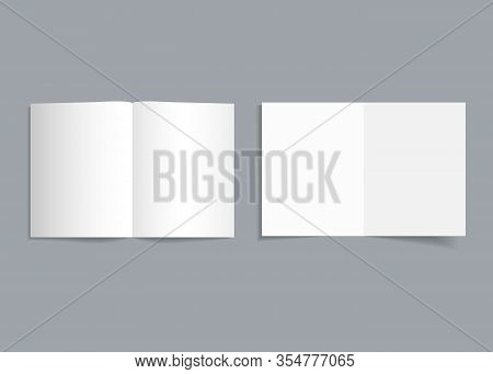 Mockup Bifold Brochure. White Cover Of Flyer With Shadow. Paper Template Booklet Or Leaflet For Real