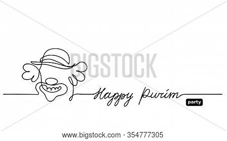 Simple Black And White Clown Sketch, Doodle. Happy Purim Vector Background With Clown. One Continuou