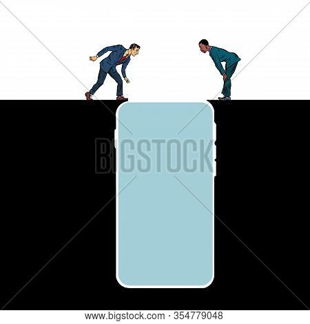 Smartphone Gadget Internet Addiction. People On The Edge Of A Precipice. Pit Silhouette. Pop Art Ret