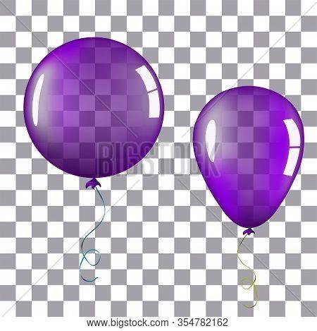 Transparent Purple Helium Balloon. Isolated Vector Illustration On Plaid Transparent Background. Bir