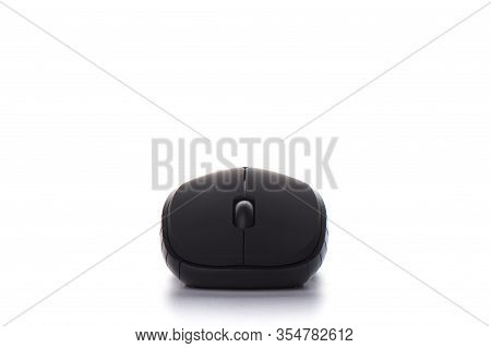 Ergonomic Manipulator Computer Mouse Isolated On A White Background. Black Computer Mouse On A White