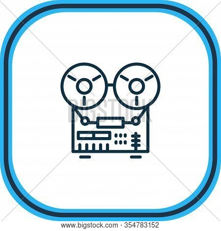 Illustration Of Tape Recorder Icon Line. Beautiful Appliance Element Also Can Be Used As Audio Recor