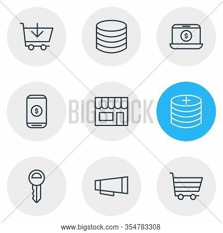 Vector Illustration Of 9 Commerce Icons Line Style. Editable Set Of Commerce, Profit, Shop And Other