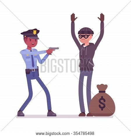 Thief Arrest And A Policeman. Legal Seize Of A Criminal, Masked Male Burglar Committed Robbery, Band