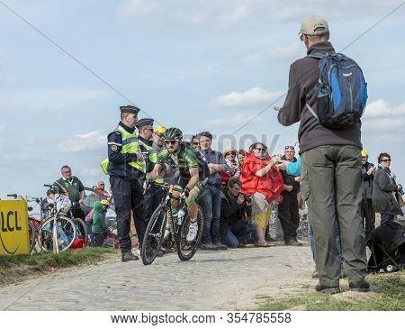 Gruson, France - April 12,2015: The French Cyclist, Morgan Lamoisso Of Team Europcar, Riding During