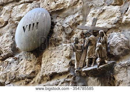 Viii Station In Jerusalem - Via Dolorosa -  Processional Route In The Old City Of Jerusalem