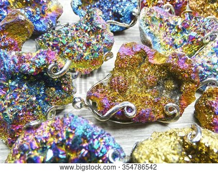 Rainbow Titanium Aura Quartz Set Background Colorful Semigem Geode Stones