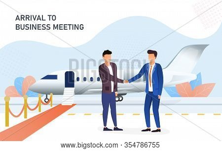 Businessmen Shaking Hands In The Airport After Arrival To Business Meeting. Red Carpet Leading To A