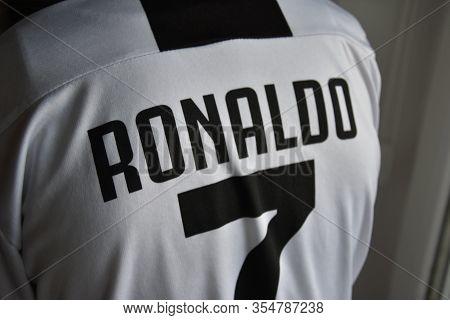 Torino, Italy: Feb 1, 2020 - Ronaldo No 7 T Shirt Of Juventus Team In Torino, Fun Store Of  Fc Juven