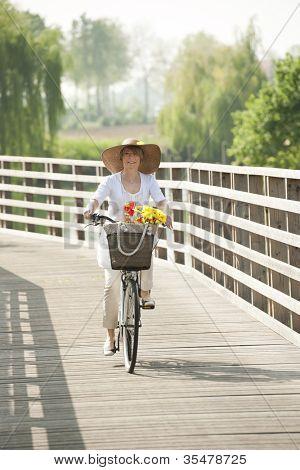 Woman ciclying on a wooden bridge