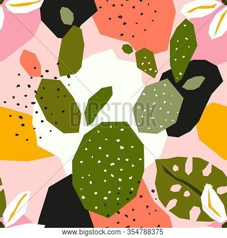 Trendy Tropical Paper Collage With Abstract Hand Drawn Floral Elements, Seamless Pattern In Flat Des