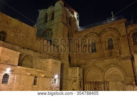 Night View On Church Of The Holy Sepulchre In Jerusalem.