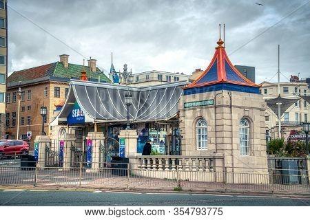 Brighton, United Kingdom - 22 November 2019: The Brighton Sea Life Centre Underground Aquarium From