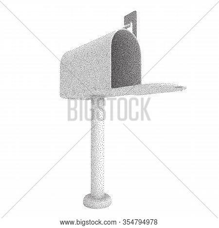 Mailbox With Open Door And Raised Flag. Dotwork Halftone Style Monochrome Gradient Vector Illustrati