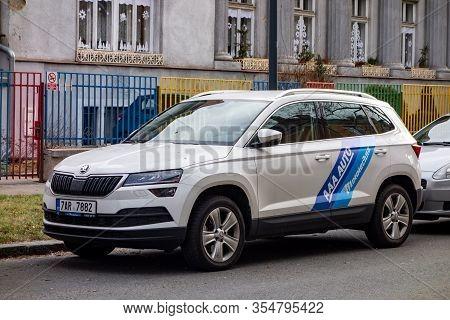Ostrava, Czechia - February 19, 2020: White Skoda Karoq Suv Car With Blue Stripes Of The Aaa Auto Mo