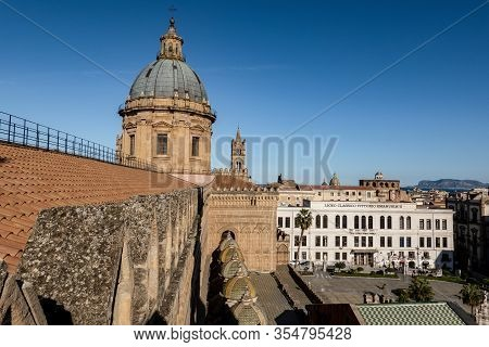 Palermo, Sicily - February 8, 2020: The Roof And Cupola Of Palermo Cathedral With Liceo Classico Vit