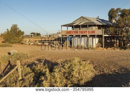 Marree, South Australia - January 9, 2014: Lake Eyre Yacht Club Marree Australia On Sunset, Intersec