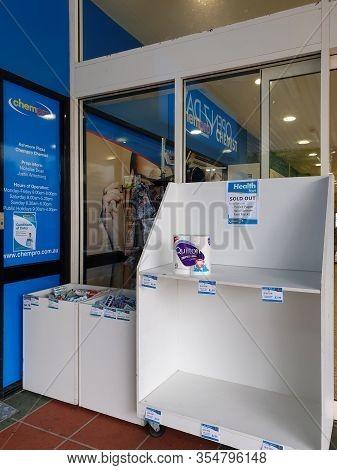 Gold Coast, Australia - March 9, 2020: Coronavirus Fears Create Toilet Paper Frenzy, Chemists Strugg