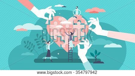 Wellness Concept. Flat Tiny Person Vector Illustration. Health Care Team Working Together In Unity A