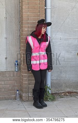 Weston-super-mare, Uk - September 10, 2015: An Attendant At Dismaland, An Exhibition Curated By Bank