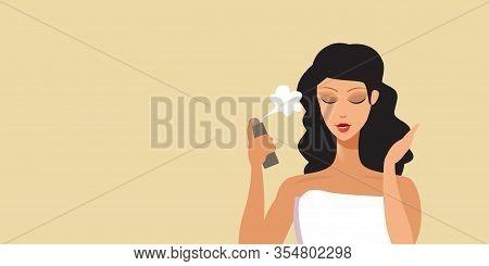Young Woman Applying Hair Spray Haircare Concept Portrait Horizontal Vector Illustration
