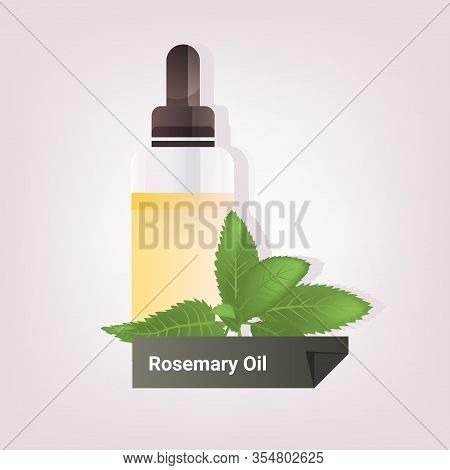 Dropping Essential Resemary Oil Glass Bottle With Yellow Liquid And Green Leaves Natural Face Body B