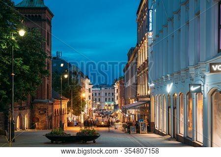 Oslo, Norway - June 24, 2019: Night View Of Karl Johans Gate Street. Centrum District In Summer Even