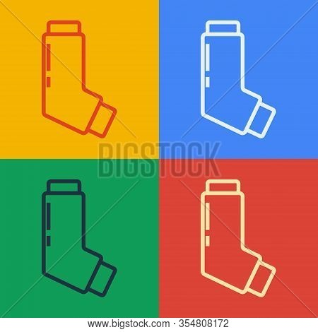 Pop Art Line Inhaler Icon Isolated On Color Background. Breather For Cough Relief, Inhalation, Aller